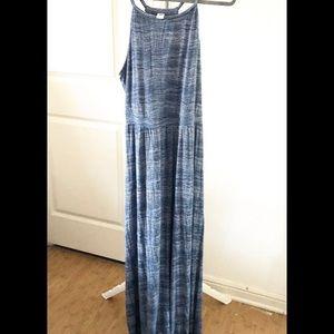 Old Navy High Neck Blue Striped Maxi Dress